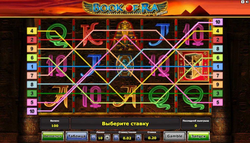 Book of Ra линии выплат